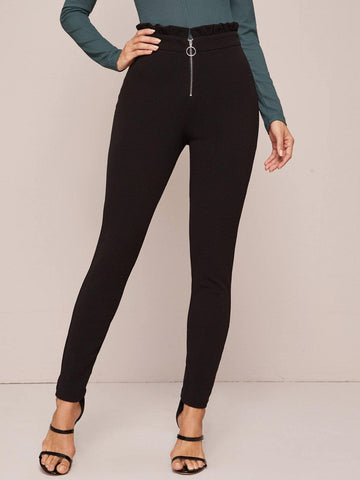 Black  Zipper Fly Paperbag Waist Cropped Pants