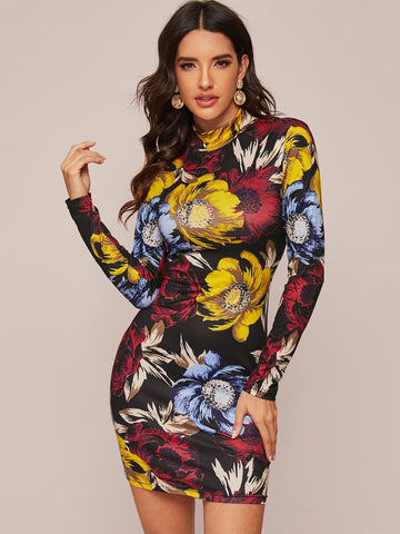 Stand Collar Mock-neck Floral Slim Fit Short Dress