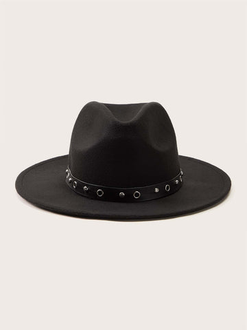 Black Rivet Fedora Hat