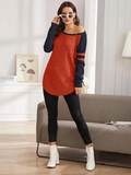 Scoop Neck Striped Raglan Sleeve Two Tone Sweater Pullover