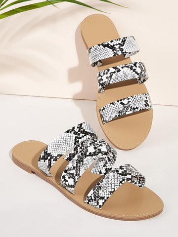 Snakeskin Strappy Open Toe Sliders