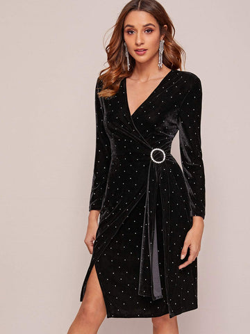 Black V-Neck Polka Dot Print Self Tie Velvet Wrap Dress
