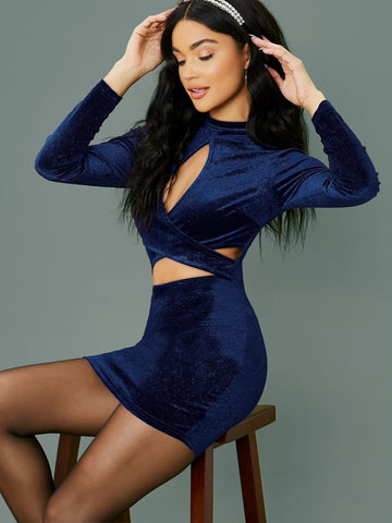 Navy Blue Stand Collar Glitter Velvet Long Sleeve Cut Out Slim Fit Mini Dress
