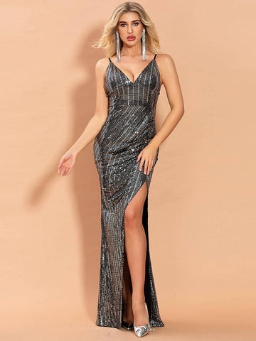 Grey Sleeveless High Waist Slim Fit Plunging Neck Split Thigh Sequin Prom Dress