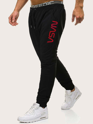 Black Mid Waist Letter Graphic Drawstring Sweatpants
