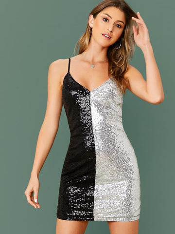Spaghetti Strap Sleeveless Colorblock Sequin Cami Slim Fit Dress