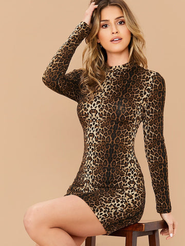 Stand Collar Mock-neck Leopard Slim Fit Dress