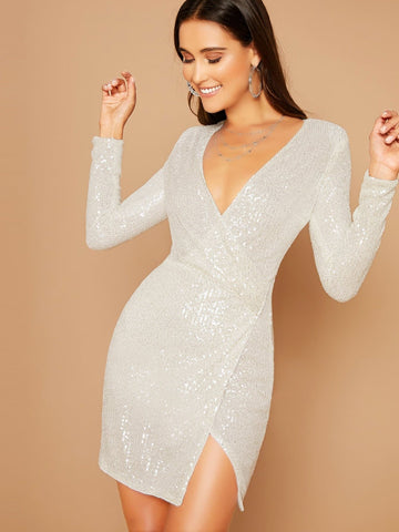 White Slim Fit Plunging Neck Asymmetrical Hem Wrap Sequin Dress