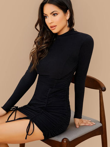 Black Stand Collar Slim Fit Mock Neck Long Sleeve Ruched Jersey Dress