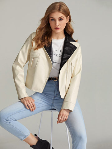 Contrast Lapel Collar Flap Pocket PU Jacket