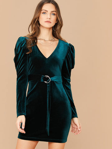 Green V-Neck Slim Fit Gigot Sleeve Belted Velvet Dress