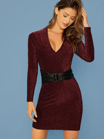 Burgundy V-Neck Glitter Slim Fit Dress