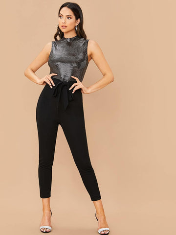 Stand Collar Sleeveless Mock Neck Sequin Bodice Belted Jumpsuit