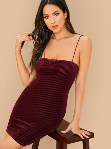 Burgundy Sleeveless Slim Fit Solid Velvet Slip Dress