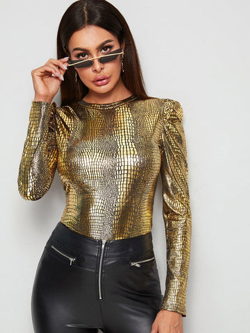 Round Neck Metallic Crocodile Puff Sleeve Fitted Tee Top