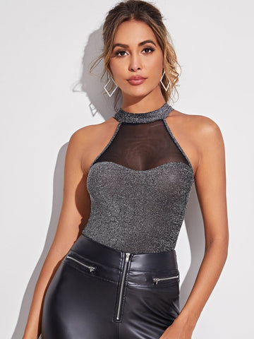 Grey Slim Fit Mesh Insert Glitter Halter Top