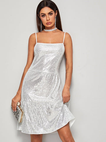 Grey Spaghetti Strap Sleeveless Contrast Sequin Metallic Cami Dress