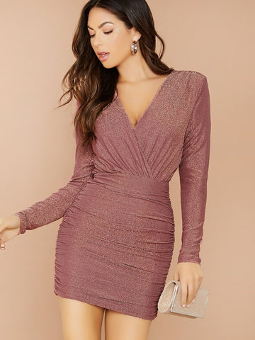 Pink Surplice Neck Ruched Glitter Slim Fit Dress