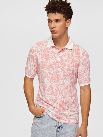 Pink Contrast Collar Allover Print Polo T-Shirt