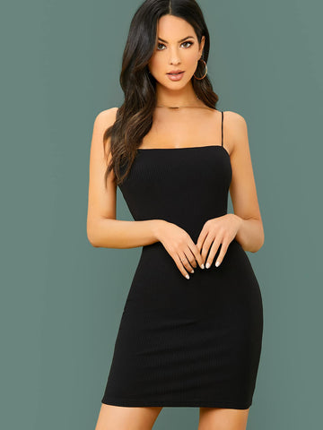 Black Sleeveless Spaghetti Strap Rib-knit Slim Fit Slip Dress