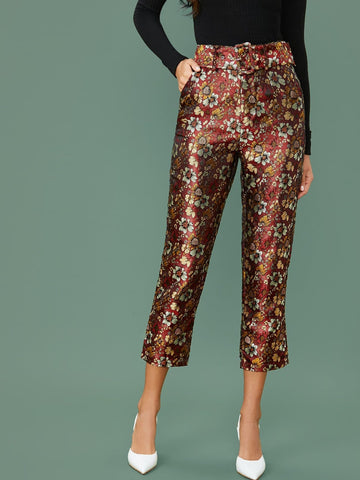 High Waist Adjustable Belted Jacquard Straight Leg Pants