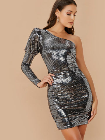 Slim Fit Long Sleeve One Shoulder Ruched Sequin Mini Dress
