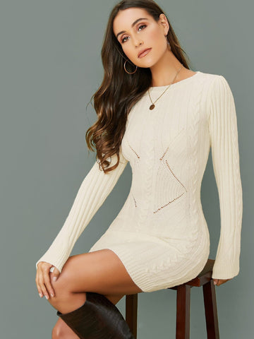White Round Neck Slim Fit Long Sleeve Cable Knit Sweater Dress