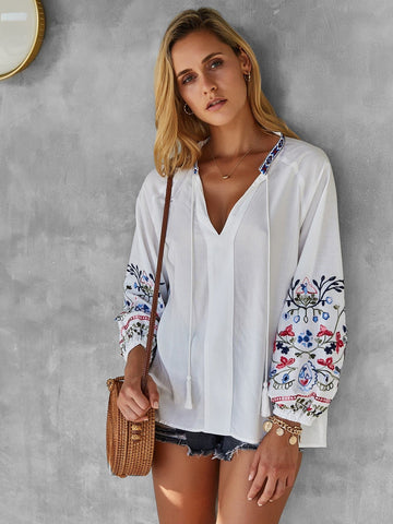 White Notched Collar Floral Embroidered Fringe Trim Blouse Top