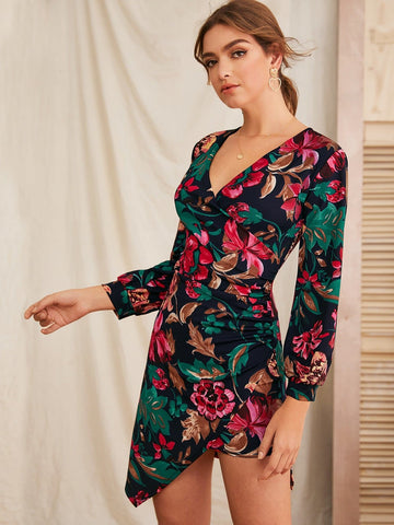 V-Neck Slim Fit Asymmetrical Hem Floral print Surplice Dress