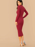 Stand Collar Mock-neck Rib-knit Slim Fit Dress