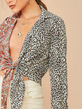 Plunging Neck Knot Front Spliced Floral and Leopard Top