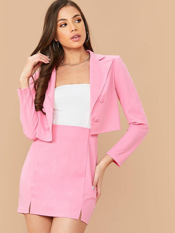 Pink Double Breasted Crop Blazer and M-split Skirt Set
