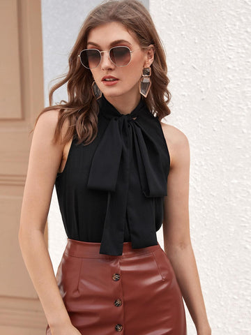 Black Tie Neck Sleeveless Solid Blouse Top