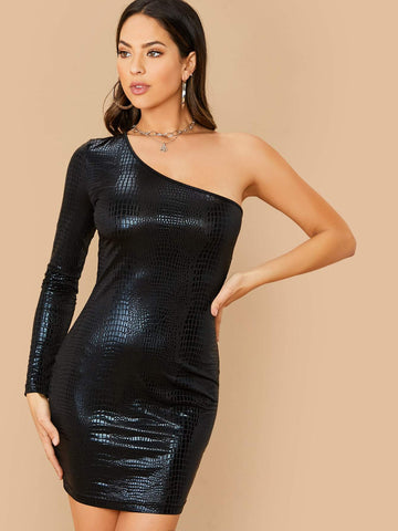 Black Slim Fit One Shoulder Crocodile Embossed Dress