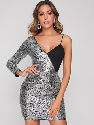 Grey Sleeveless Asymmetrical Neck Two Tone Sequin Slim Fit Dress