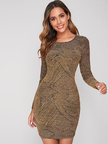 Round Neck Form Fitted Glitter Slim Fit Dress