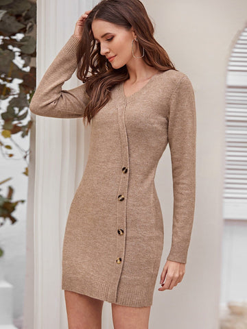 Surplice Neck Button Detail Slim Fit Sweater Dress