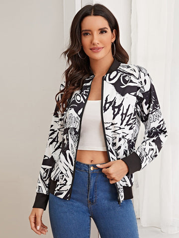 Black and White Baseball Collar Zip Up Letter Graphic Bomber Jacket
