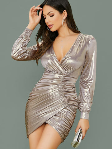 Grey Deep V-Neck Long Sleeve Metallic Ruched Slim Fit Mini Dress