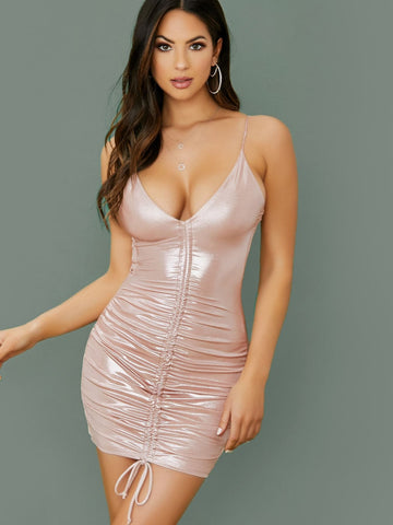 Pink Spaghetti Strap Slim Fit Metallic Knit Sleeveless Ruched Front Mini Dress