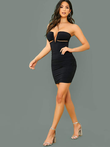 Black Sleeveless Slim Fit Wired V-Neck Waist Cut Out Strapless Mini Dress