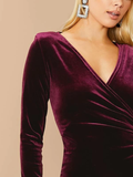 V-Neck High Waist Ruched Front Velvet Slim Fit Dress