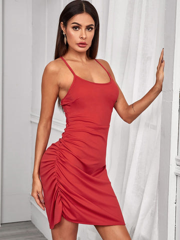 Red Spaghetti Strap Criss Cross Back Ruched Slim Fit Dress