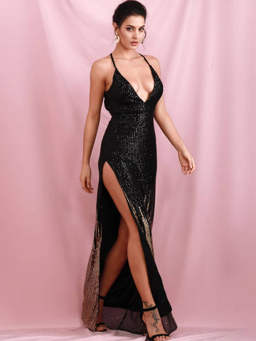 Black Sleeveless Plunging Neck Backless Split Thigh Sequin Prom Dress