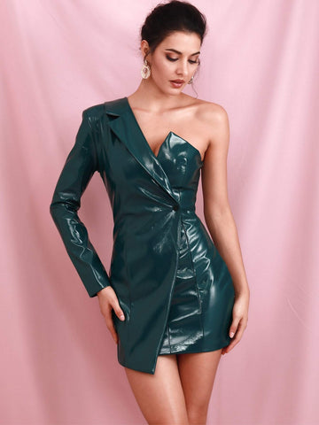 Green High Waist One Shoulder Faux Patent Wrap Dress