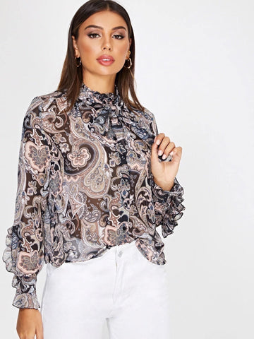 Stand Collar Tie Neck Ruffle Trim Paisley Print Blouse Top