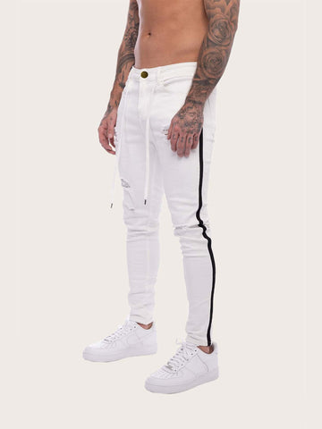 White Mid Waist Tape Side Ripped Belted Jeans