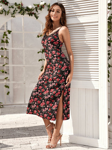 Spaghetti Strap Sleeveless Floral Print Split Thigh Cami Dress