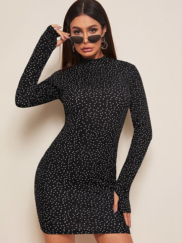 Black Stand Collar Mock Neck Thumb Hole Detail Dot Print Slim Fit Dress