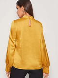 Stand Collar Keyhole Back Mock-neck Satin Top